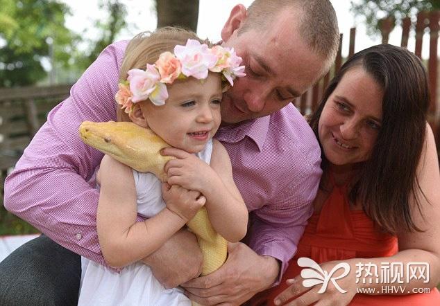 英国2岁女童亲吻近5米长黄金蟒
